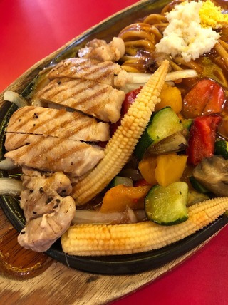ポークと夏野菜のグリルスパ
