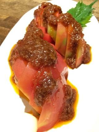 ラー油味噌トマト