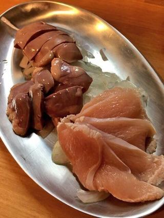 鶏刺身三種盛
