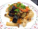 秋野菜と豚肉の香味ソース