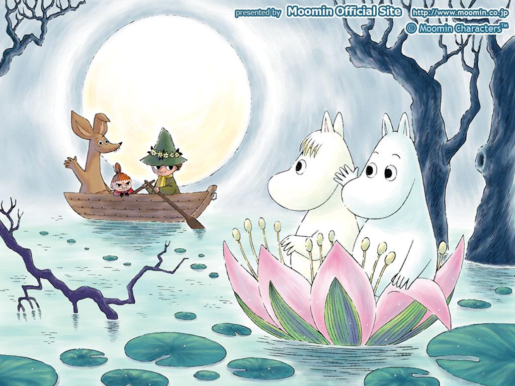 お花の舟に乗るムーミン