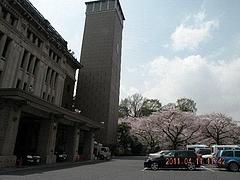 九段会館ホール正面玄関と満開になった桜