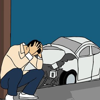 【悲報】ワイ初心者マークまんの者、今日ついに中央分離帯に激突する事故を起こすの画像
