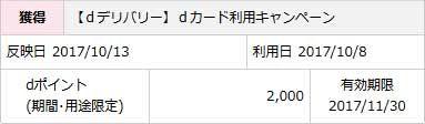 【dデリバリー】dカード利用キャンペーン 2017/10/13 2,000ポイント 有効期限 2017/11/30
