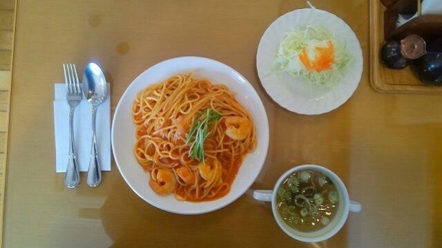 エビのトマト味スパゲティ 1
