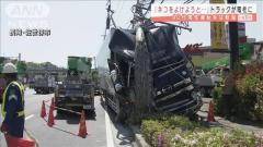 「ネコよけようと」トラックが電柱衝突 男性軽傷 長崎・佐世保