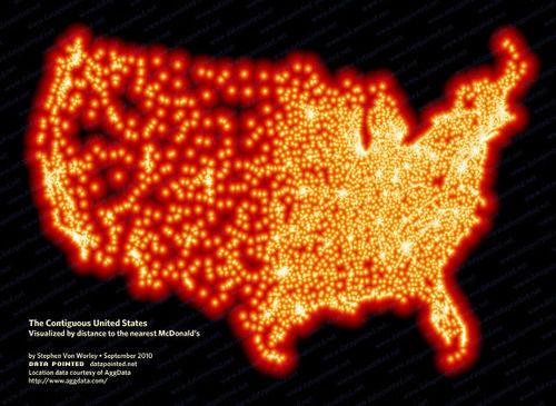 【画像】アメリカではマクドナルドから185キロ以上離れることができない