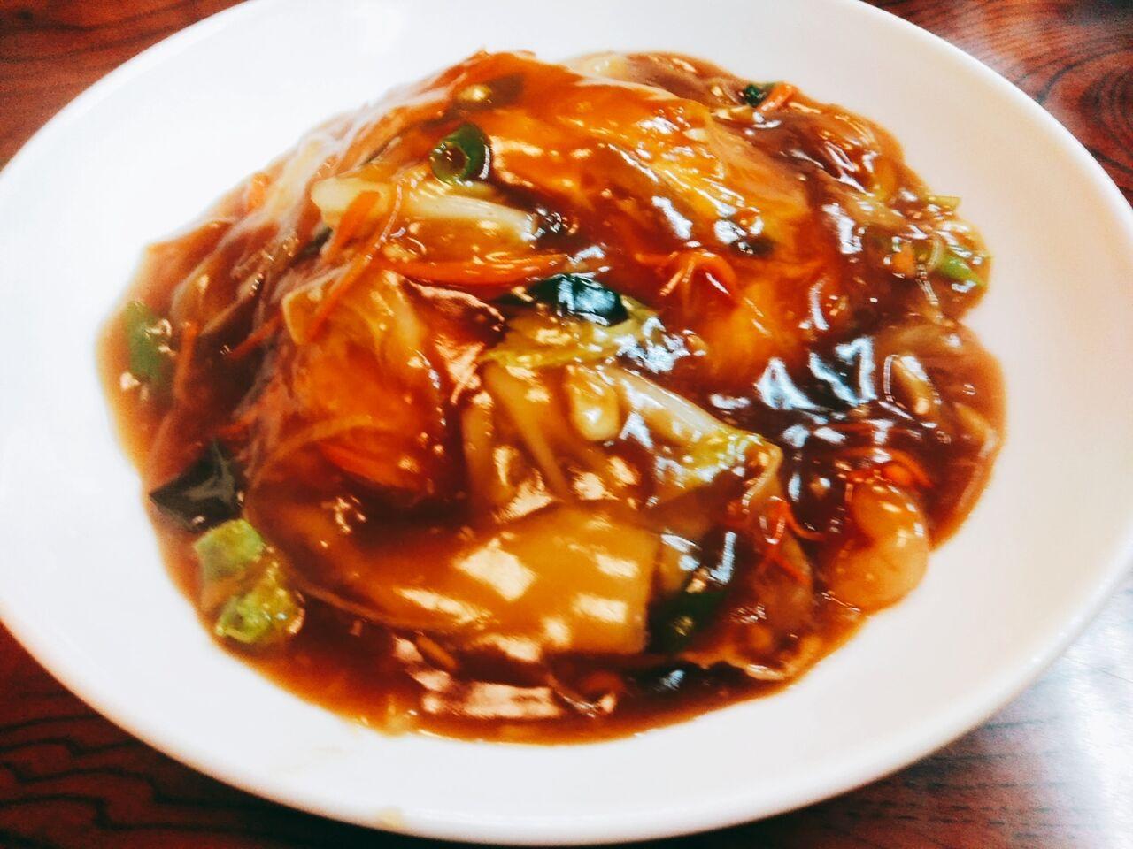 野菜あんの天津飯、ラーメン
