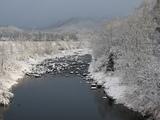 田沢湖近くの雪景色
