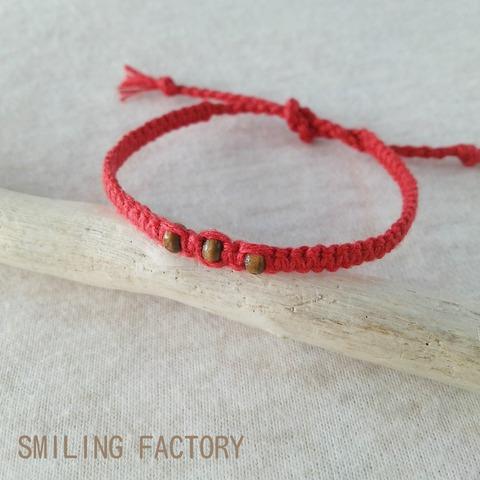 【平編みブレスレット】リネン糸で作った平編みブレスレット/Red
