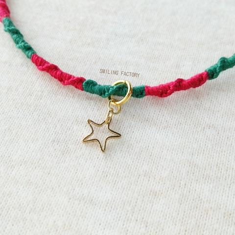《クリスマス》キラキラ星のぐるぐるアンクレット/ワインレッド×モスグリーン