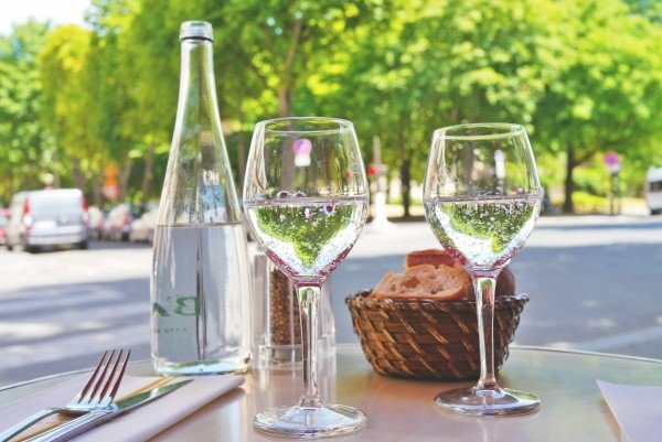 restaurant-street-cafe-bread-mineral-water-covered