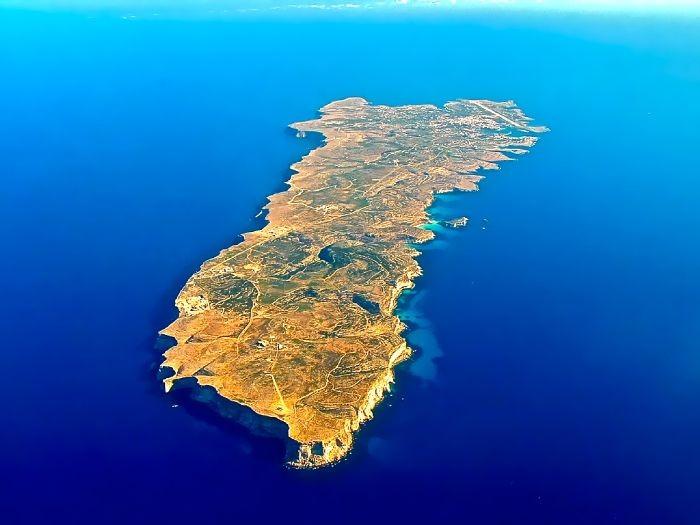 空から見たランペドゥーザ島