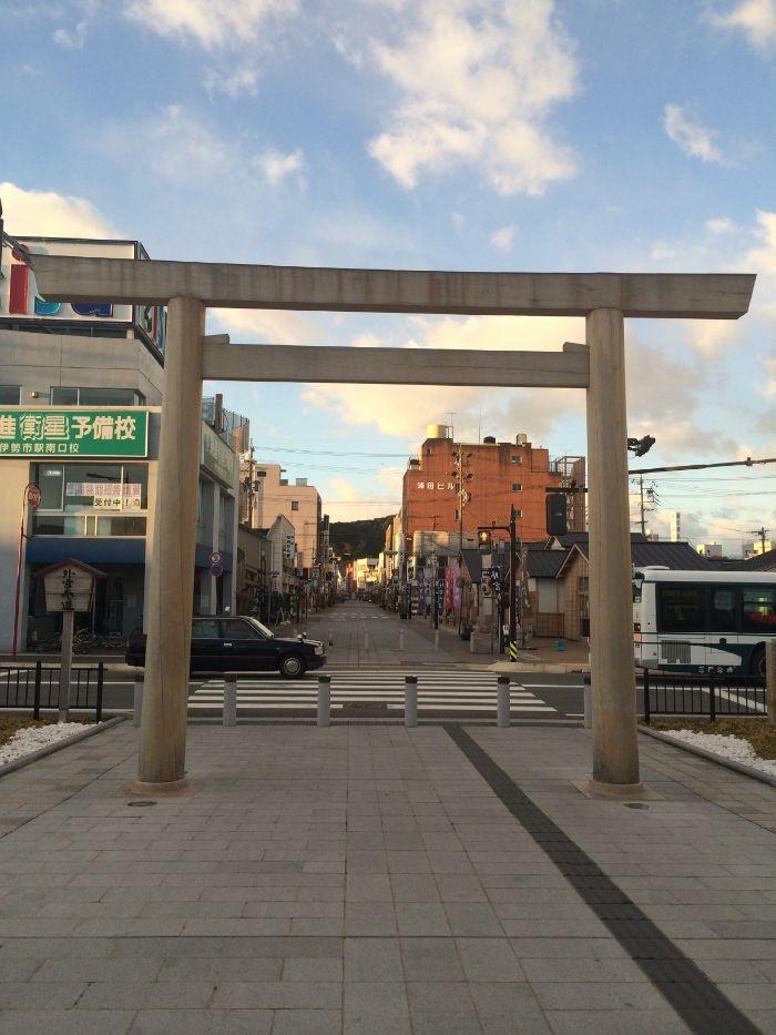 伊勢市駅から撮影した下宮参道