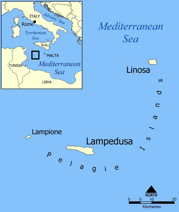 ランペドゥーザ島の位置