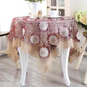 テーブルクロス レース花柄 ワインレッド