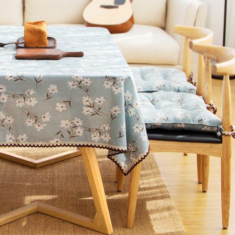 花柄青色のテーブルクロス2