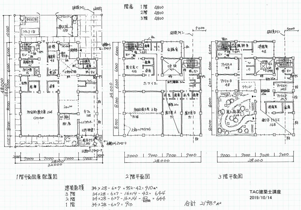 2019年一級設計製図試験 講評&オリジナル答案プラン : TAC建築士 ...