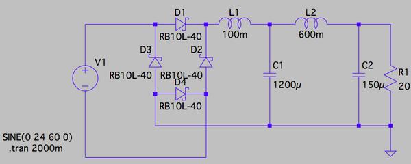 DC電源のリップルシュミレーション
