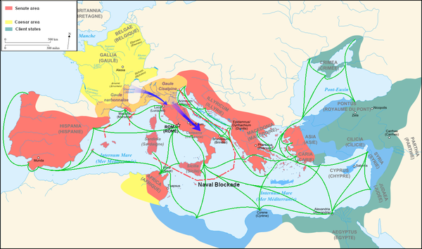 Roman sea transportation route and naval blockade by Pompeius