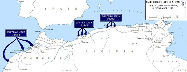 Operation_Torch_map_each_Task_Force_landing