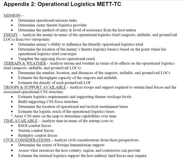 Appendix 2_Operational Logistics METT-TC