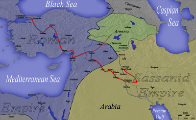 Map of Roman-Persian border at the death of Constantius II