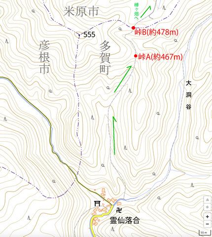 柾板峠の地形図(名称入り)