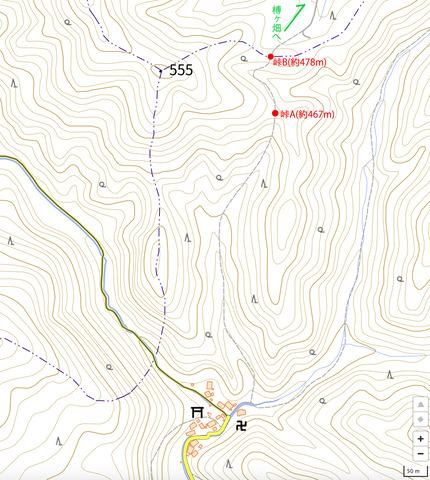 柾板峠の地形図