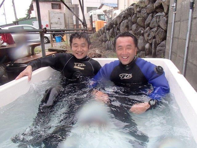 ダイビング後はお風呂でぬくぬく。