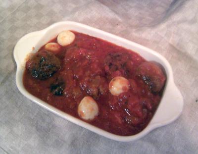ミートボールとうずらの卵のトマト煮