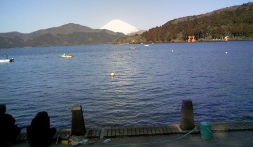富士山を眺めながら釣り