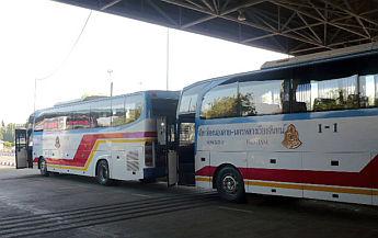国際バスが並ぶ