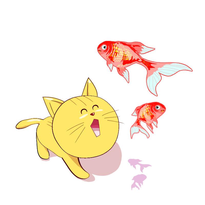 金魚と猫1