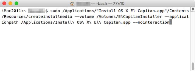 Osx elcapitan terminal create usb