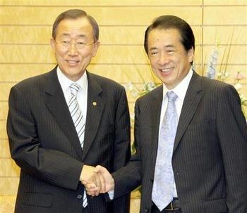話にならない国連事務総長と管総理