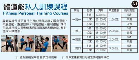 台北市の運動中心、パーソナルトレーニングの価格表