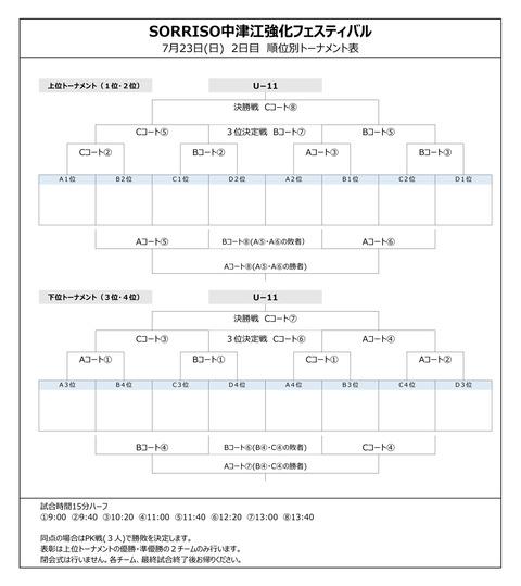 対戦表2日目_SORRISO中津江強化フェスティバル_20170722-23