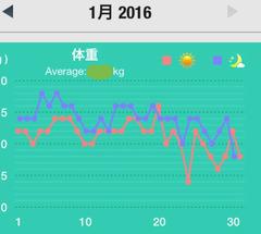 2016,1月の体重
