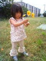 ママに花をあげるんだぁ。