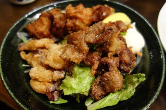 鶏・ラム・タコの三種のザンギ(850円)