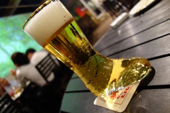 ブーツグラスでサッポロビール