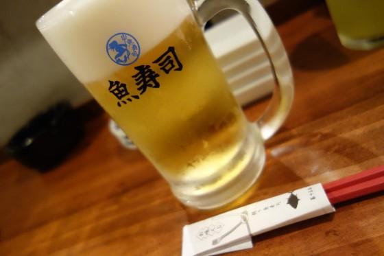 魚寿司 モルツジョッキ(518円)