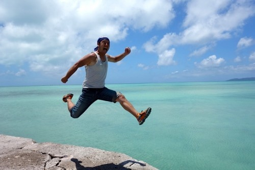 西桟橋でジャンプ!