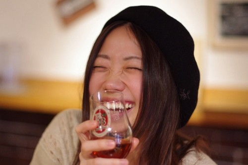 笑顔でビール