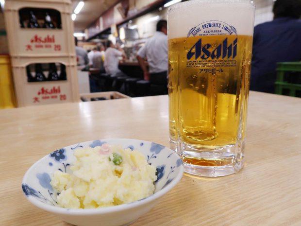 アサヒ生ビールとポテトサラダ(150円)
