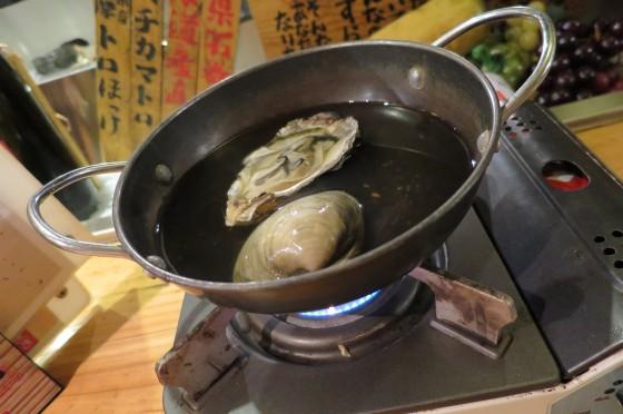 お通し ハマグリと牡蠣