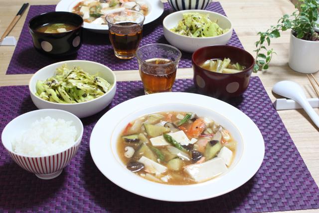 ■和風麻婆豆腐で晩ごはん。