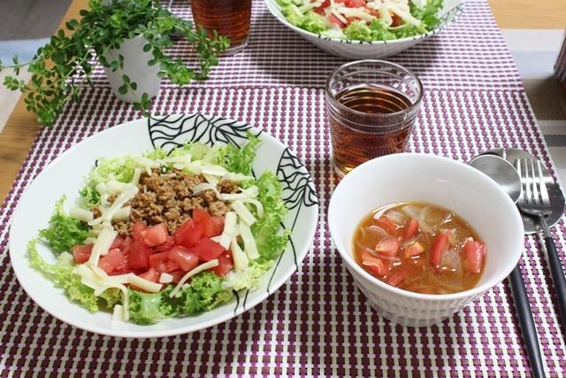 ■タコライス とタニタ食堂のトマトの味噌汁。