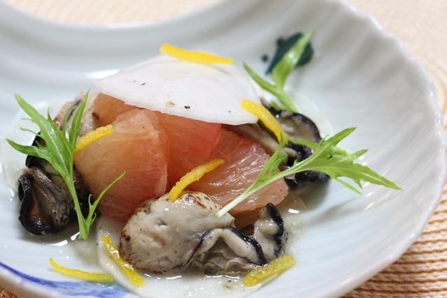 ■焼き牡蠣とグレープフルーツのゆず胡椒和え ~チャレンジ18Day~